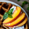 Vegan + Gluten Free Peach Waffles with Mint Coconut Whipped Cream
