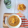 Roasted Butternut Squash Soup with Crispy Polenta Croutons
