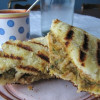 Grilled Refried Bean and Pesto Sandwich with Homemade Tomato Soup
