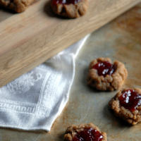 Peanut Butter and Cherry Jam Thumbprint Cookies