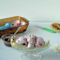 Roasted Strawberry and Vegan Lemon Ice Cream