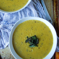 Vegan Cream of Potato Soup with Crispy Sage