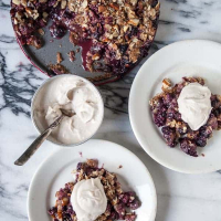 Mixed Berry Streusel Pie with Coconut Ginger Whipped Cream