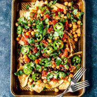 Loaded Vegan Nachos with Black Beans and Spicy Chickpeas