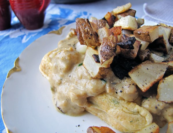 Vegan Cornmeal Waffles with Creamy Sage Gravy and Pan Fried Potatoes