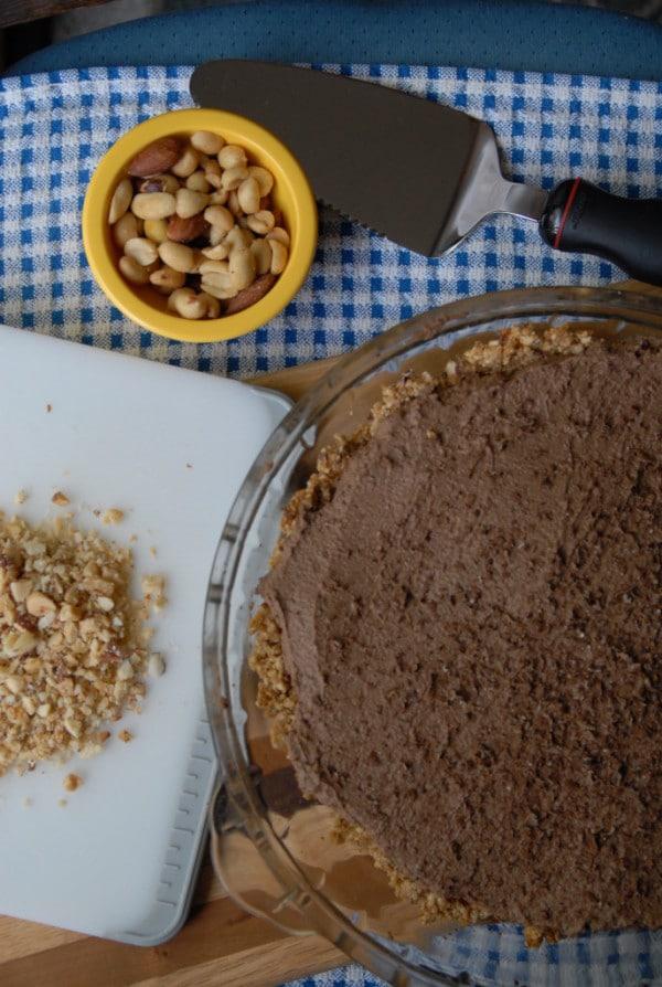 Chocolate French Silk Pie with Pretzel Crust (Vegan)