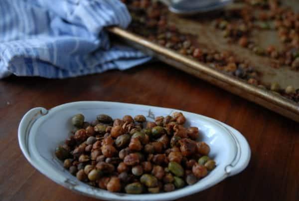 Crunchy Roasted Edamame with Chickpeas