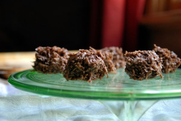 Chocolate Coconut Haystacks on a plate