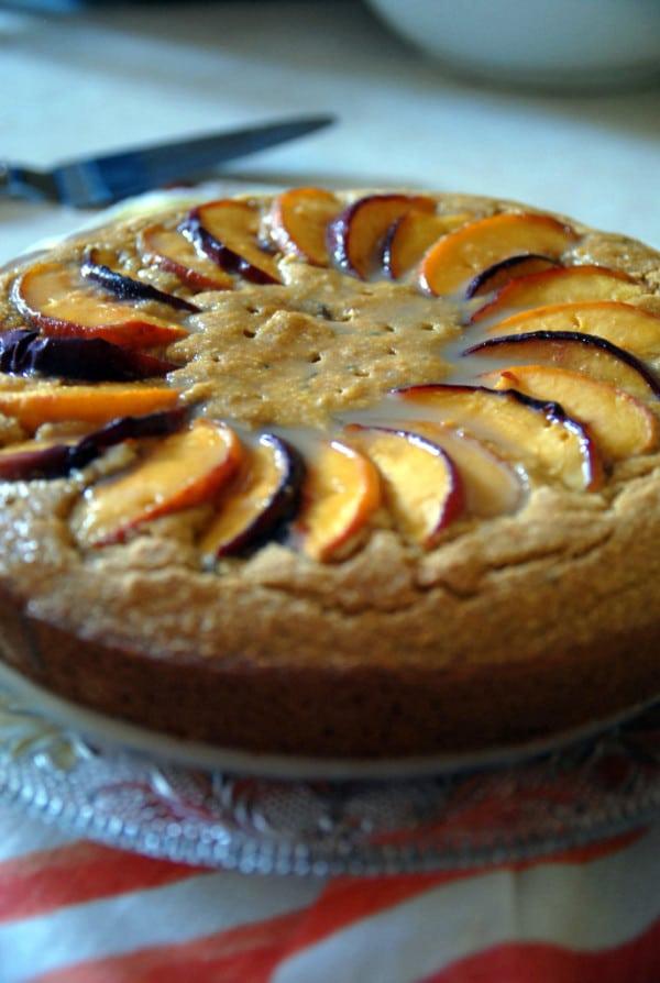 Vegan Peach Cornmeal Cake with Brown Sugar Glaze