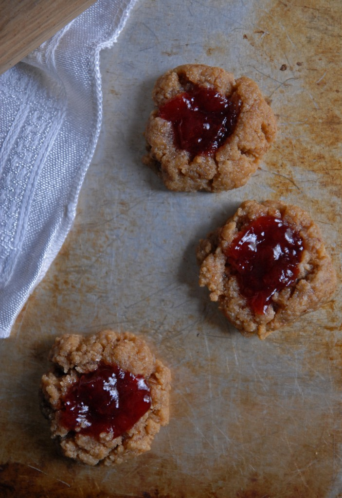 Peanut Butter and Cherry Jam Thumbprint Cookies | Heart of a Baker