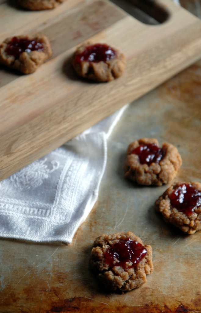 Peanut Butter and Cherry Jam Thumbprint Cookies | Heart of a Baker