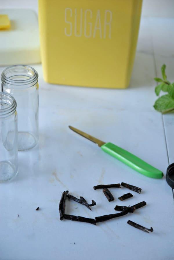 Vanilla Bean Infused Sugar + Mint Cocoa Infused Sugar