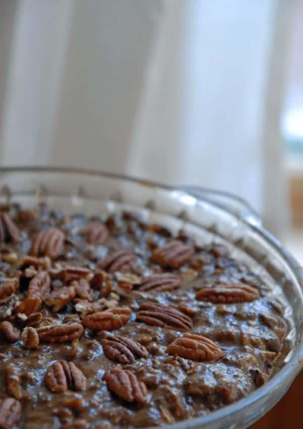 Vegan Chocolate Pecan Pie with Oat and Date Crust
