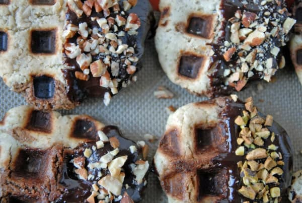 Chocolate Dipped Vanilla + Chocolate Waffle Cookies