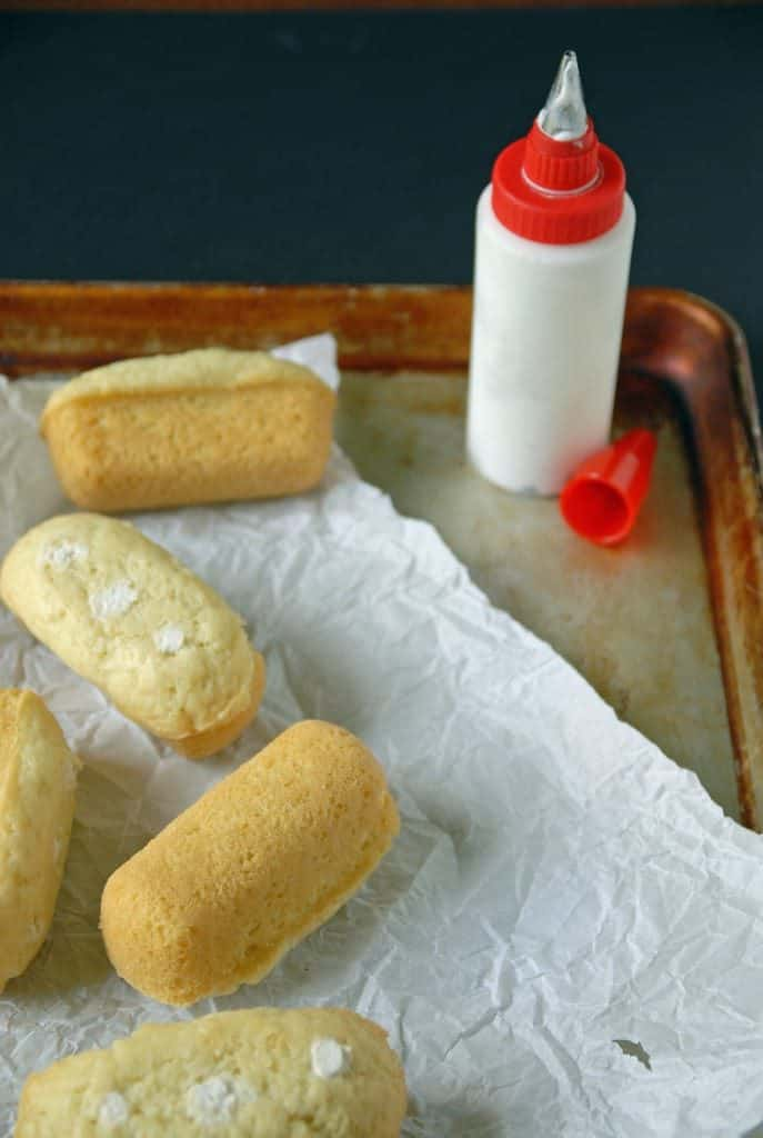 homemade Twinkies on baking tray