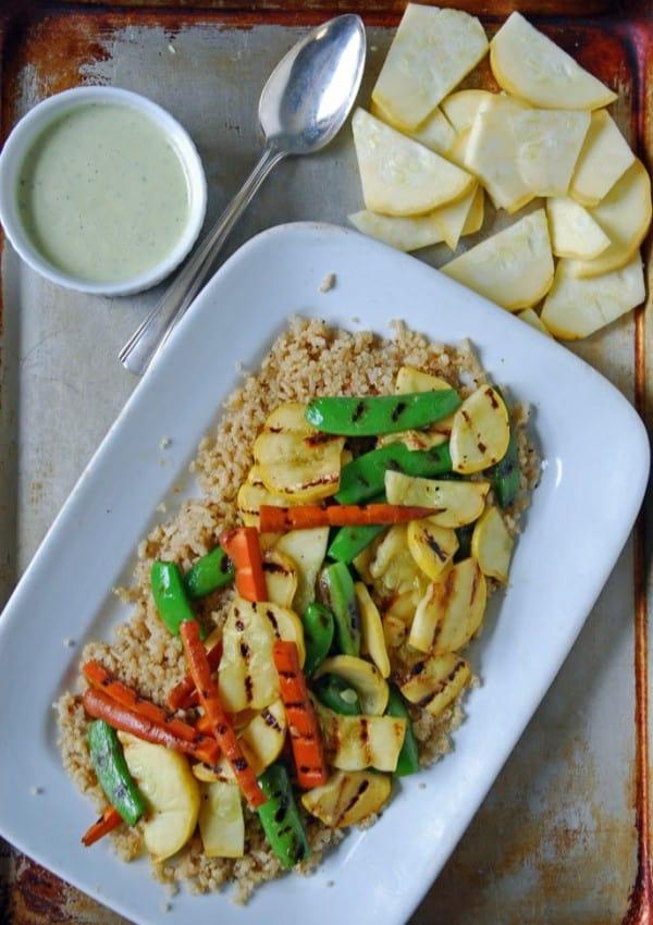Grilled Summer Vegetables with Creamy Lemon Vinaigrette {+ a bit of news!}