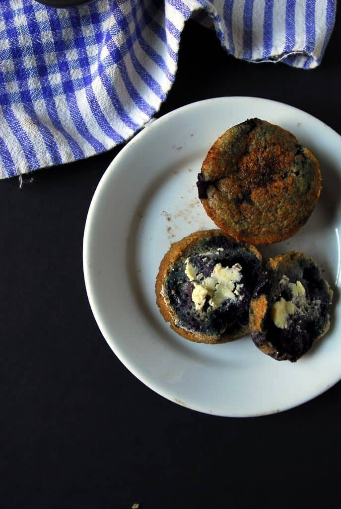 Blueberry Cornmeal Muffins (Vegan, Oil-free)