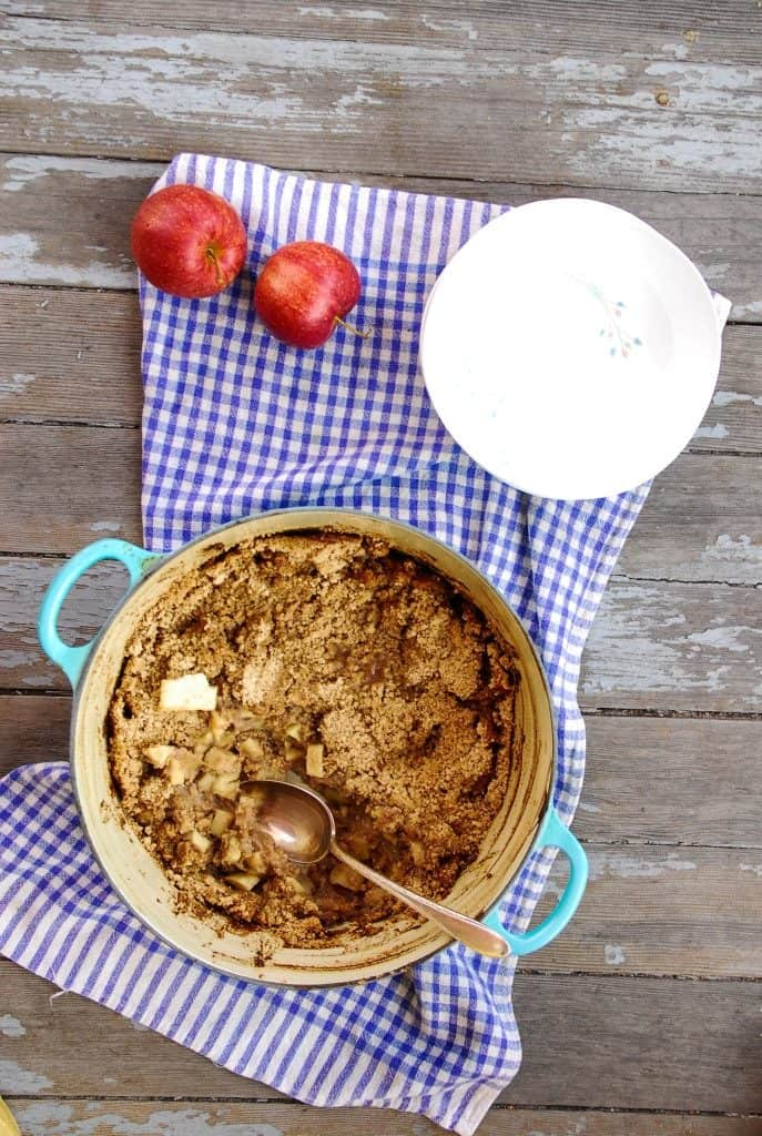 Caramel Apple Crisp with Streusel Topping