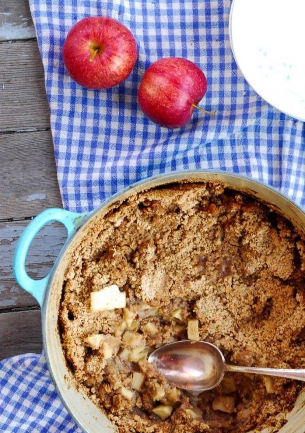 Caramel Vegan Apple Crisp with Streusel Topping