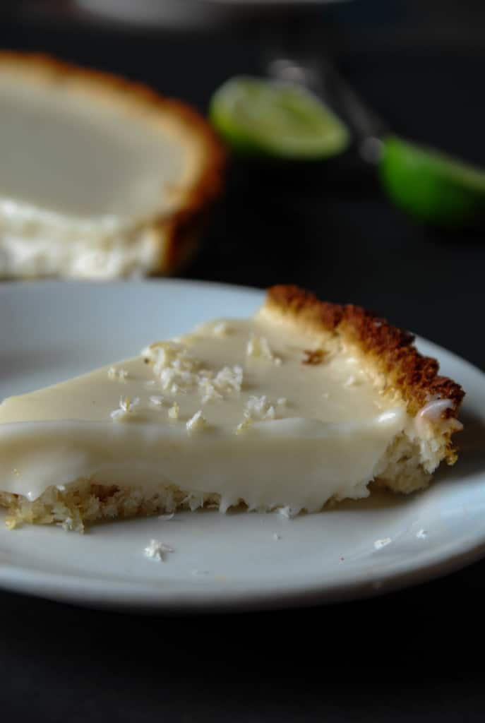 slice of vegan key lime pie on a plate