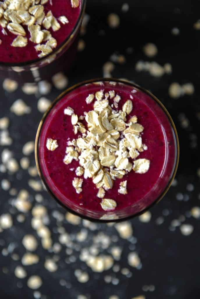 Toasted Oat and Blueberry Smoothie/ heartofabaker.com