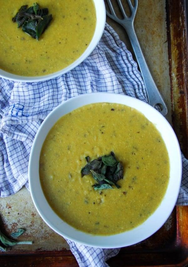 Vegan Cream of Potato Soup with Crispy Sage