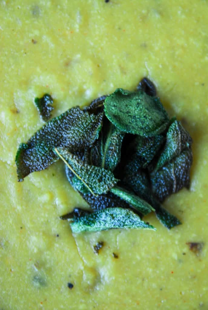 Cream of Potato Soup with Crispy Sage// heartofabaker.com