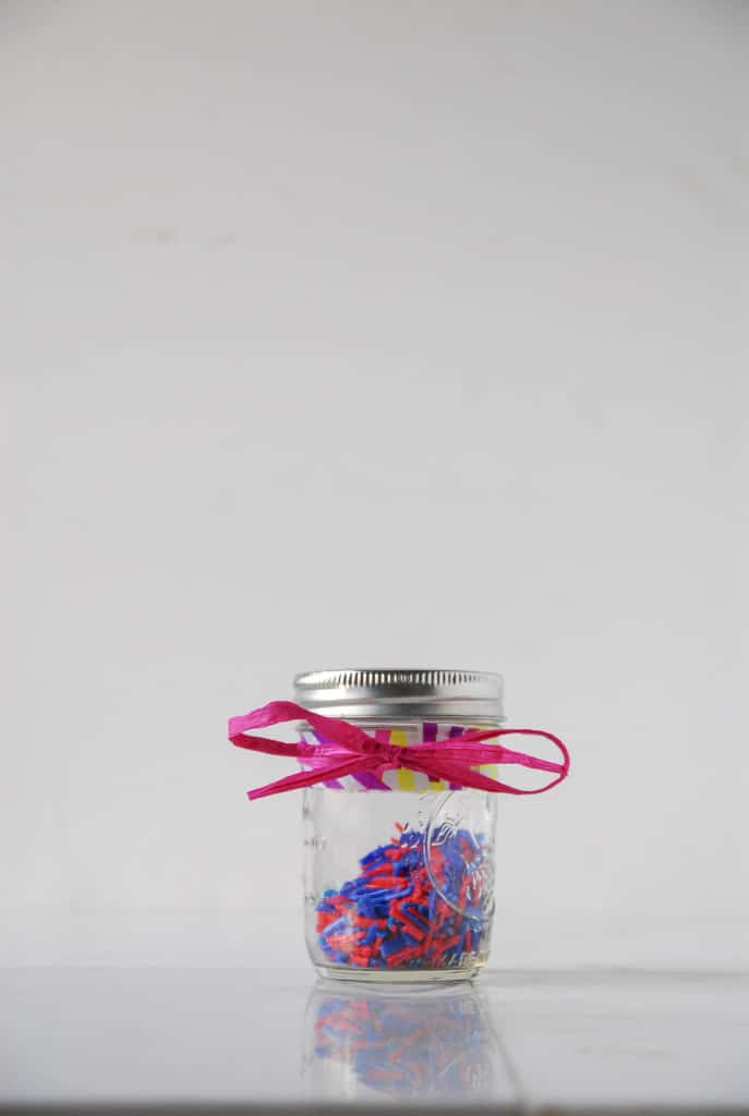 Homemade vegan sprinkles in gift wrapping