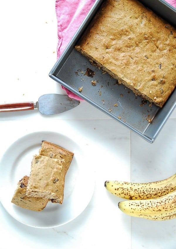 Vegan Banana Chocolate Chip Snack Cake