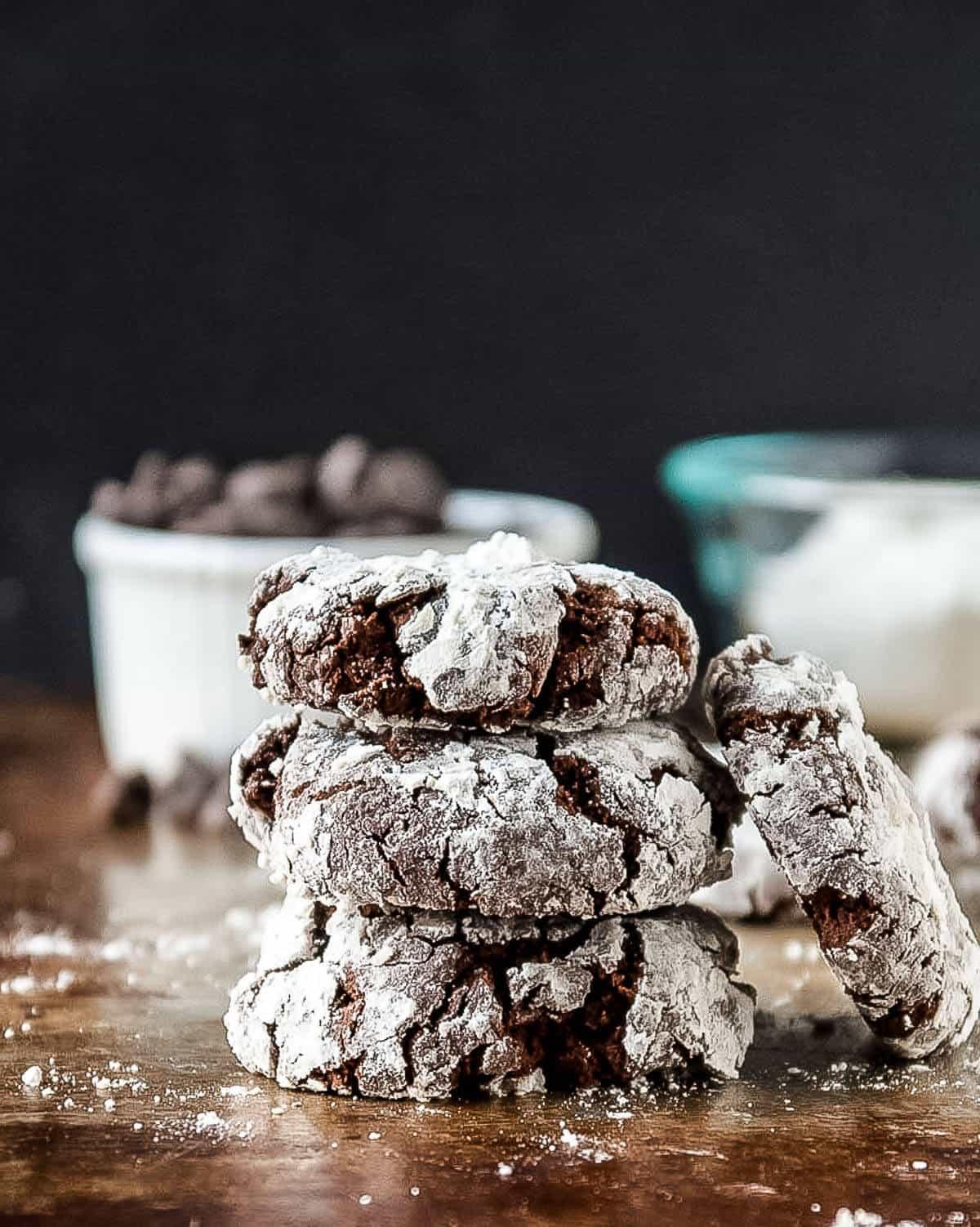 vegan chocolate crinkle cookies in a stack