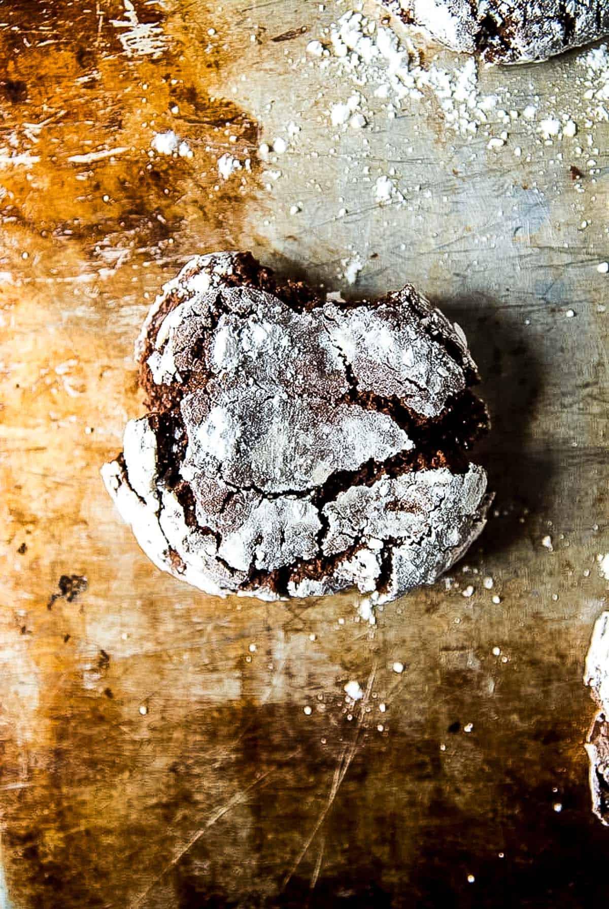 vegan chocolate crinkle cookie on baking tray