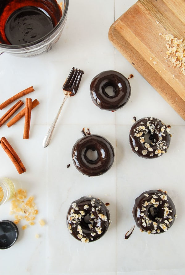 Chocolate Ginger Spice Doughnuts with Chocolate Glaze--heartofabaker.com