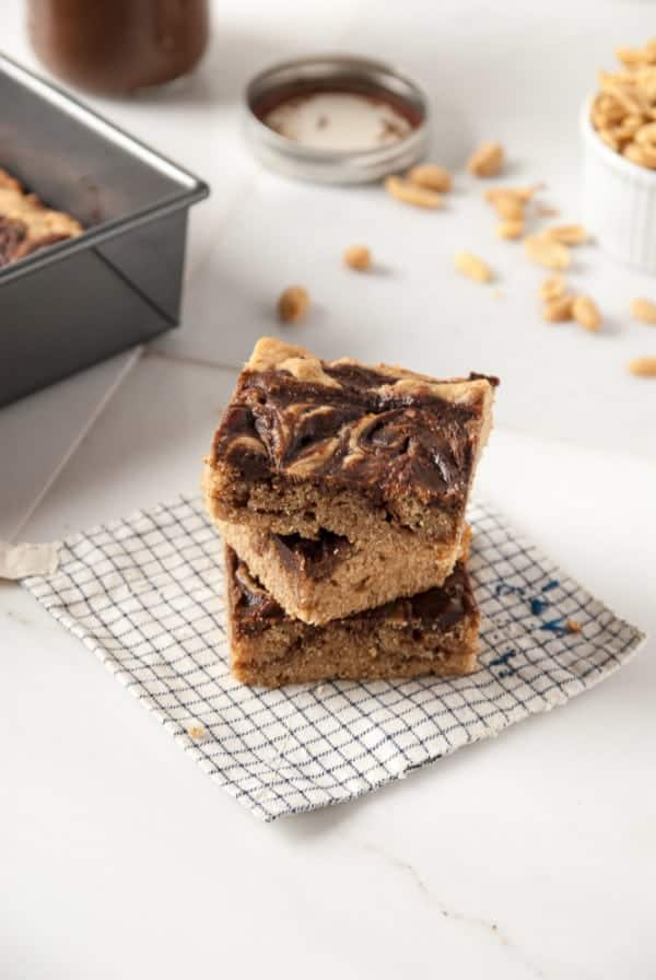 Vegan Peanut Butter + Nutella Bourbon Blondies