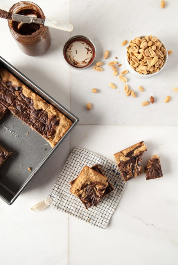 Vegan Peanut Butter + Nutella Bourbon Blondies //heartofabaker.com
