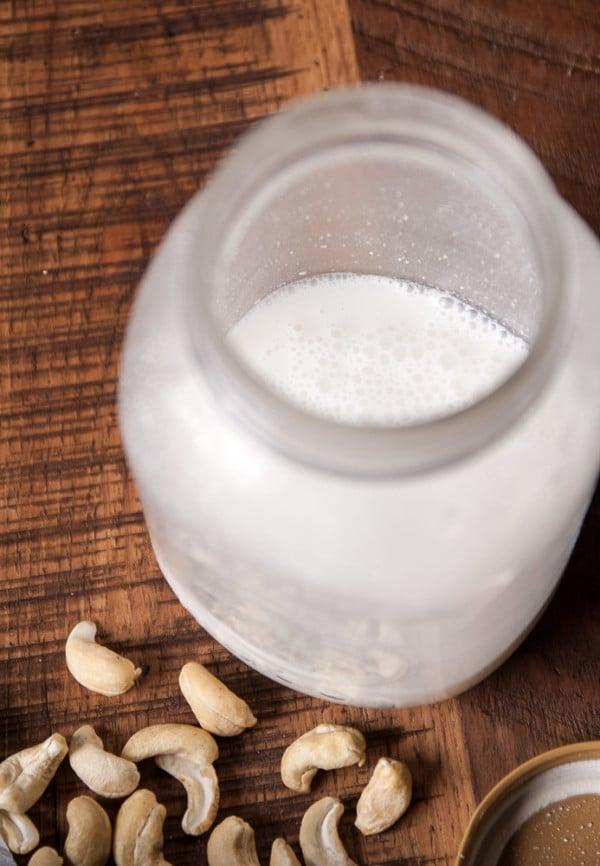 cashew milk in a jar