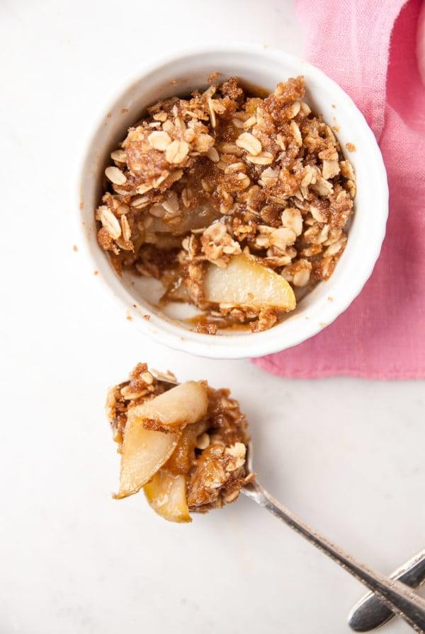 Brown Sugar + Ginger Pear Crumble--heartofabaker.com