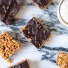 Vegan Peanut Butter Chocolate Rice Krispie Treats--heartofabaker.com
