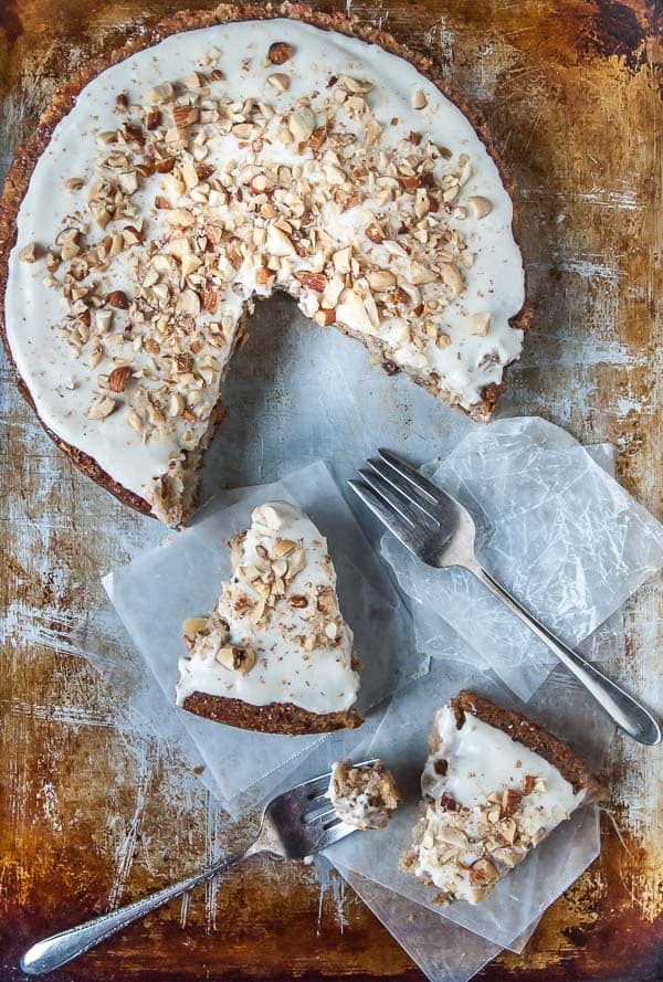 slices of Apple Spice Cake with Coconut Cream Frosting