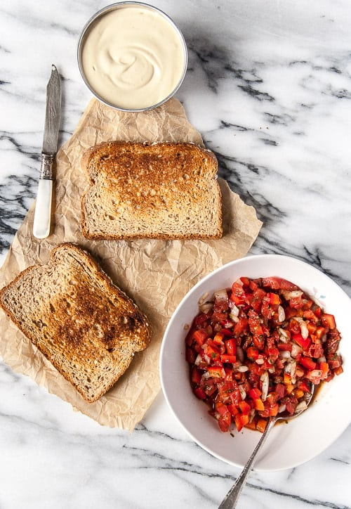 Red Pepper Bruschetta with Roasted Garlic 'Ricotta' (Vegan)