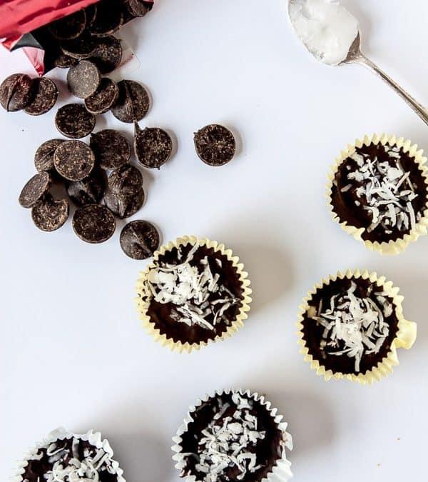 Dark Chocolate Coconut Macaroon Cups