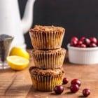 Cranberry Vegan Lemon Poppyseed Muffins