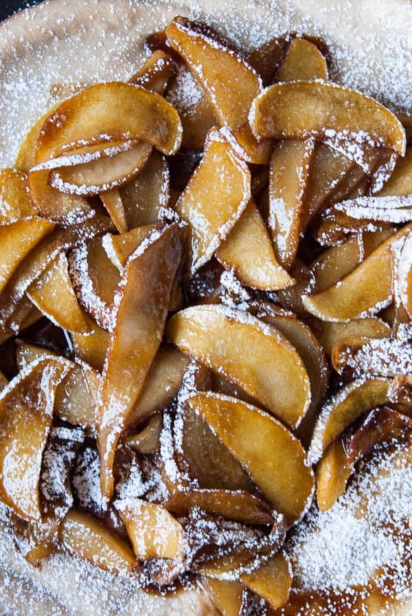 Vegan Dutch Baby with Caramelized Apples and Pears | Heart of a Baker