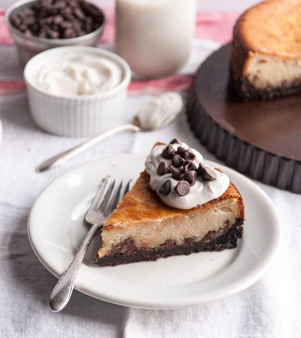 Chocolate Chip Vegan Cheesecake with Chocolate Cookie Crust
