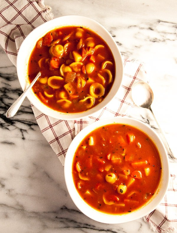 vegan Minestrone Soup in white bowls