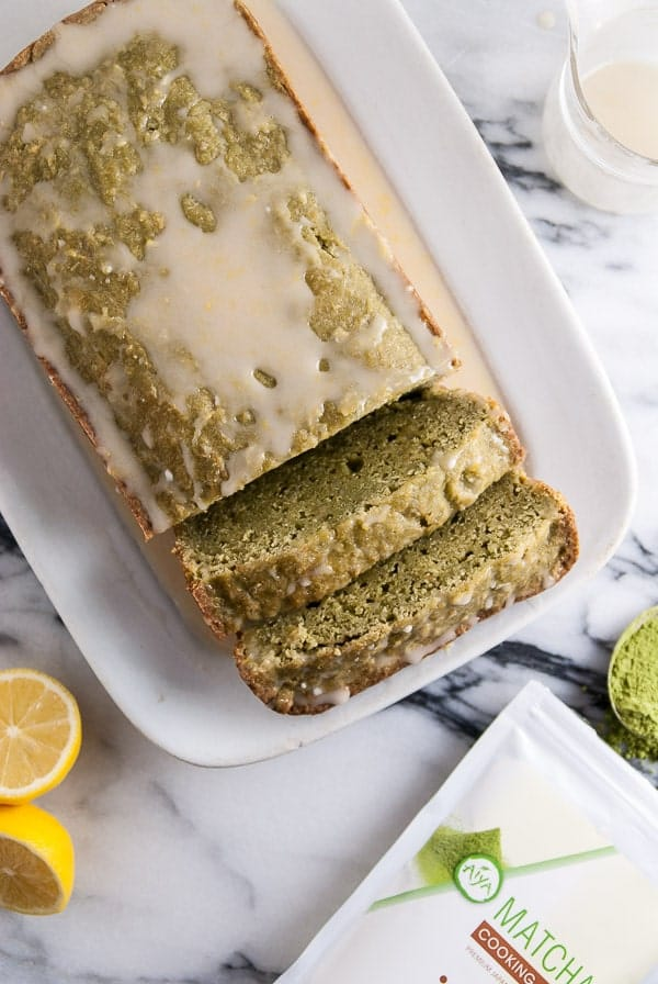 Vegan Matcha Pound Cake with Lemon Icing | Heart of a Baker