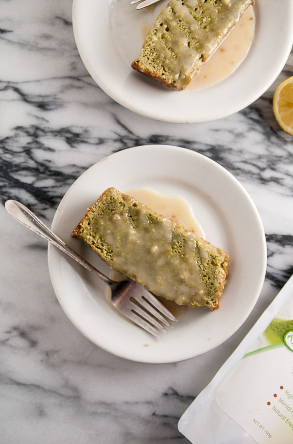 Vegan Matcha Pound Cake with Lemon Icing