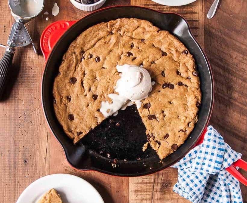 Vegan Deep Dish Chocolate Chip Cookie
