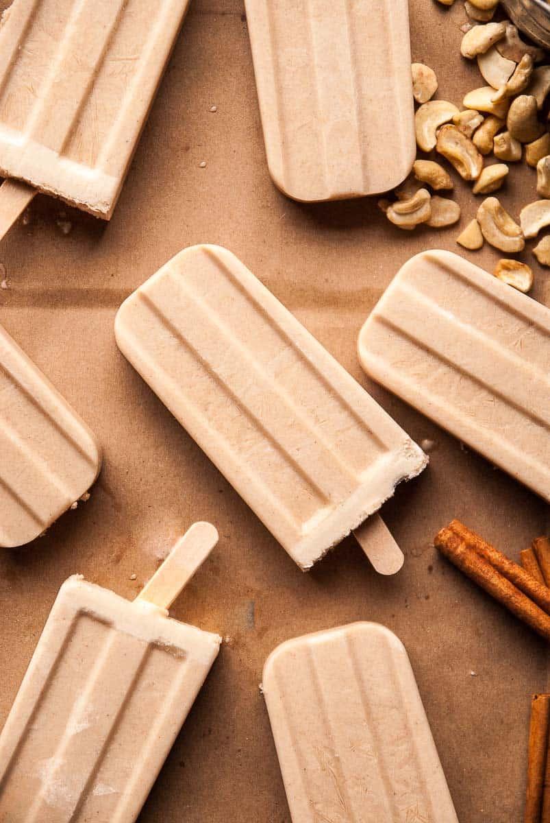 Boozy Vegan Cashew Horchata Popsicles