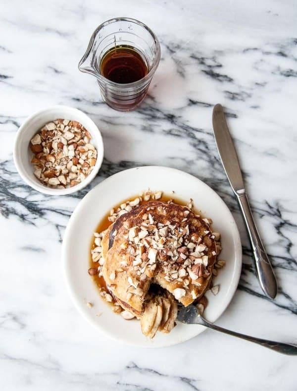 Vegan Banana Hazelnut Pancakes- a perfect addition to your next weekend brunch!