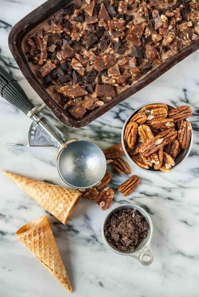 Vegan Peanut Butter Chocolate Praline Crunch Ice Cream